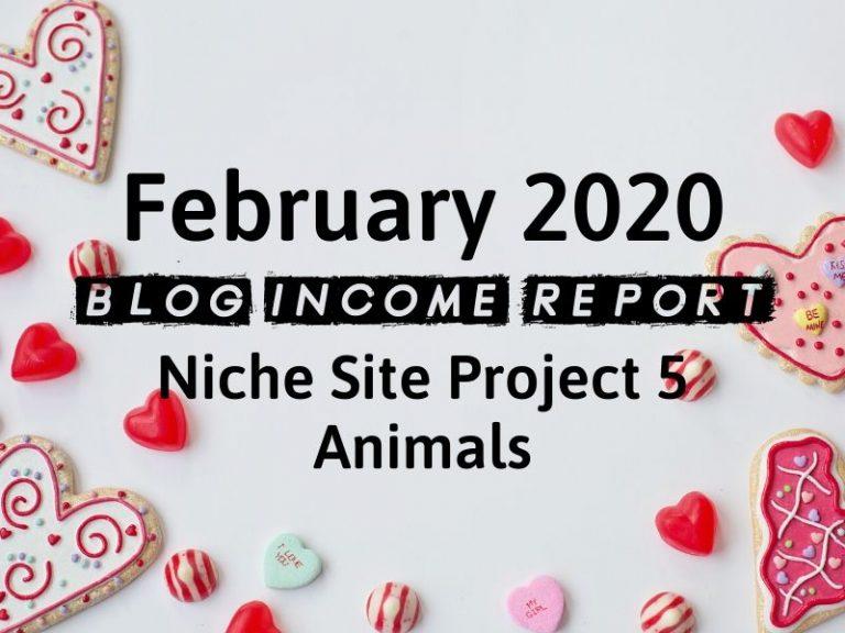Niche Site Project 5 – February 2020 Update