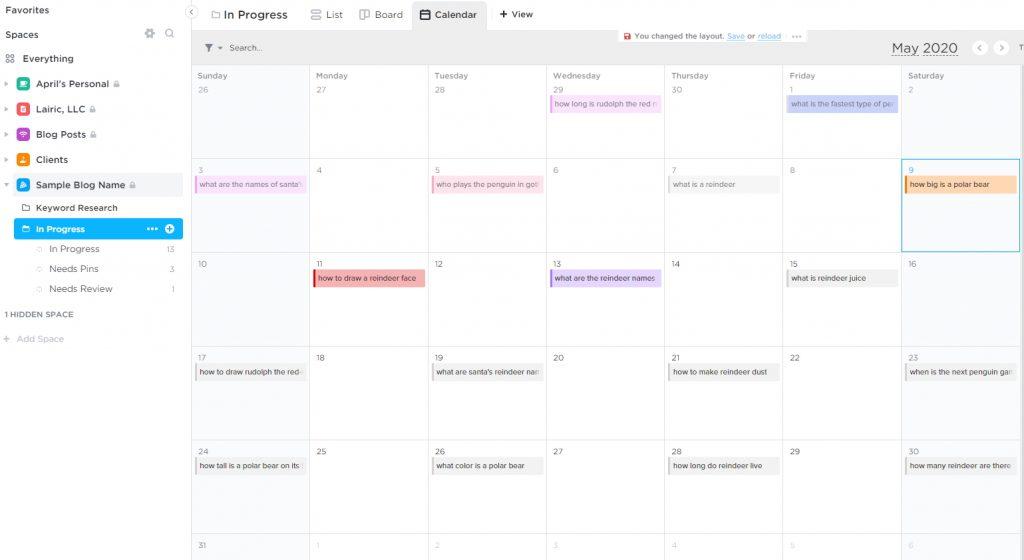 clickup content calendar colors