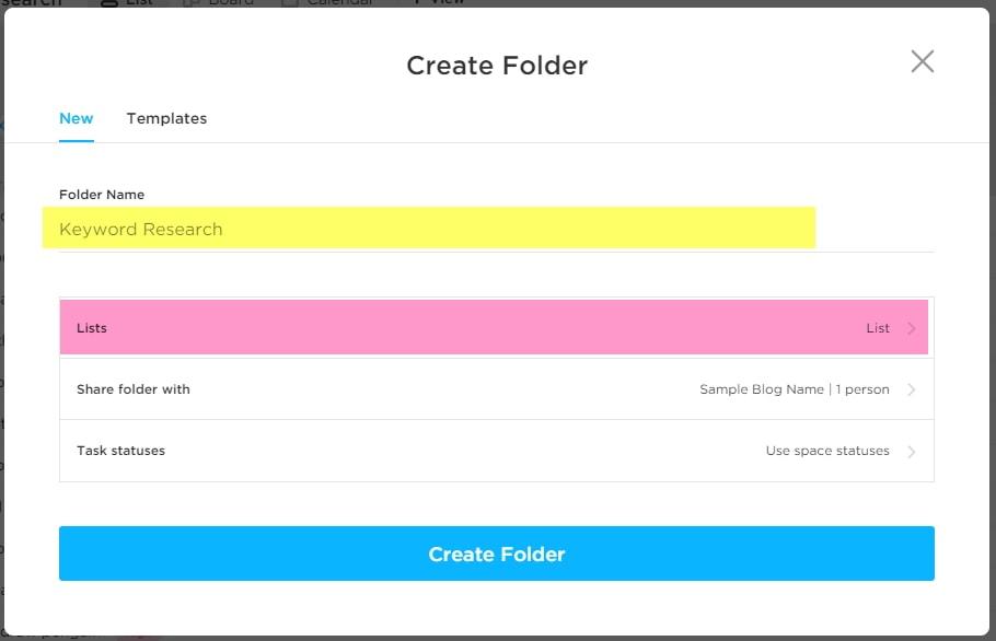 create a folder in clickup