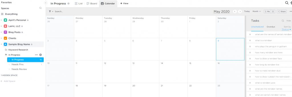 scheduling blog content using clickup