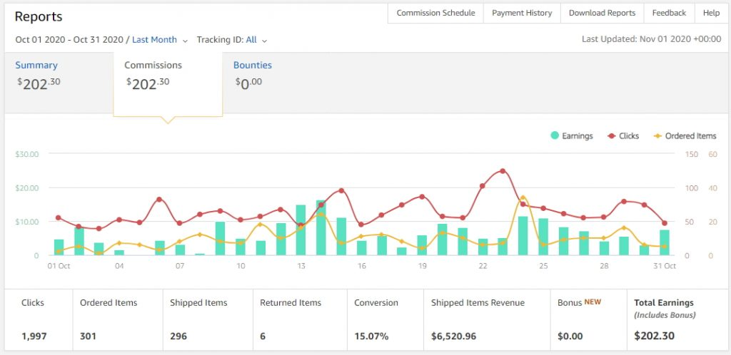 october 2020 amazon income screenshot