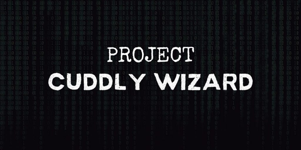 """code background with text that reads """"project cuddly wizard"""""""