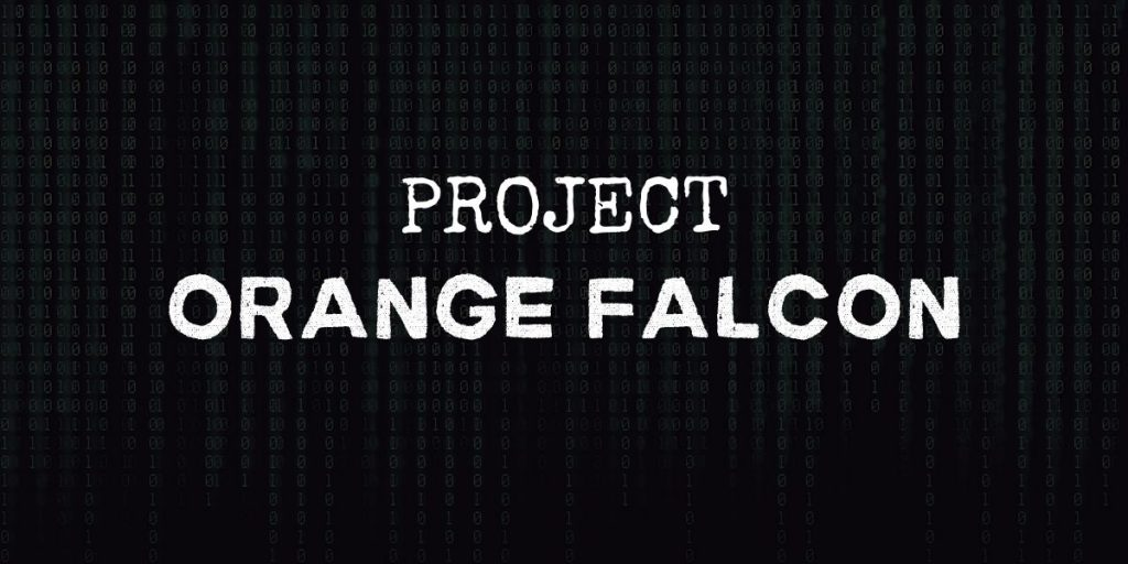"""code background with text that reads """"project orange falcon"""""""