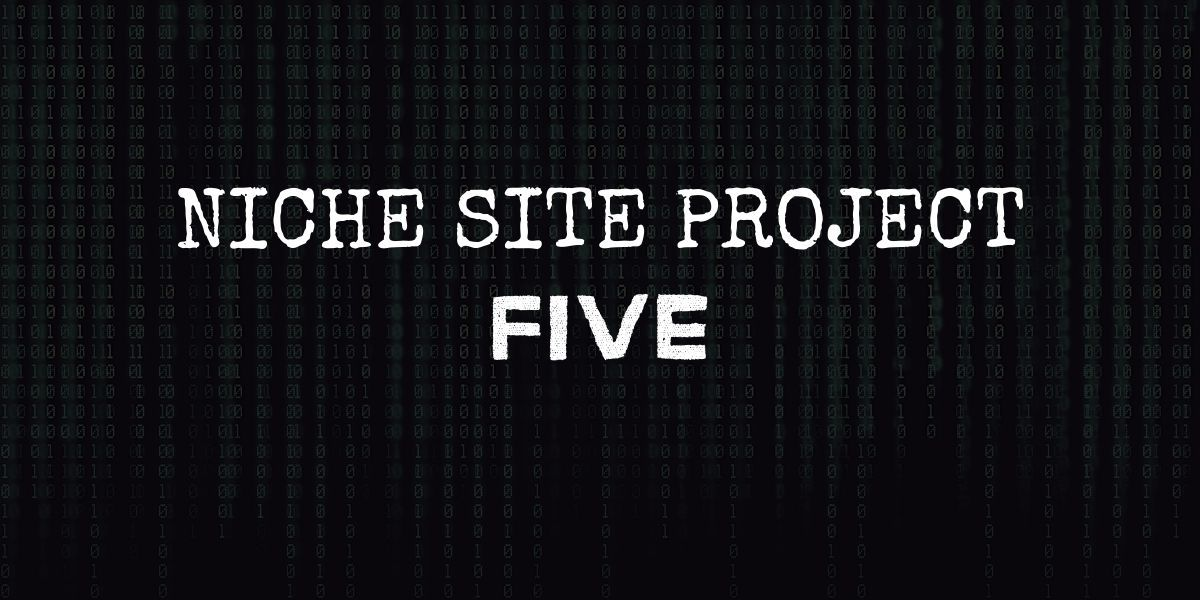 """code background with text that reads """"niche site project five"""""""