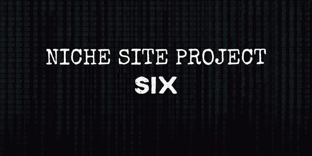 """code background with text that reads """"niche site project six"""""""